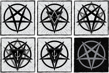 Set of stylish pentagrams with thelema sigil and psi element on grunge background and star rays. Satanic, occult symbol.