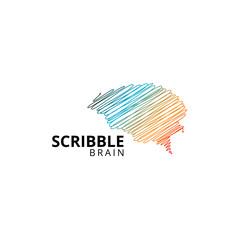 Colorful scribble of brain logo template