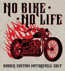 Hand drawn classic bobber bike in ink style. Retro motorbike illustration on grunge background. Custom motorcycle logo. Biker club sign. Garage label.
