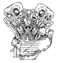 Stylized knuckle twin motorcycle engine. Handcrafted mascot of engine performing like twin skeletons in ink technique. Biker poster, t-shirt design, tattoo idea.