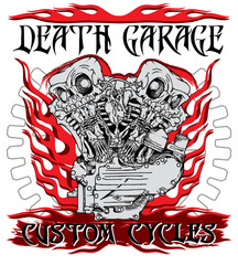 """Death garage custom cycles"" poster with motorcycle engine performing like twin skeletons in ink technique. Biker poster, t-shirt design, tattoo idea."
