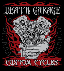 """""""Death garage custom cycles"""" poster with motorcycle engine performing like twin skeletons in ink technique. Biker poster, t-shirt design, tattoo idea."""