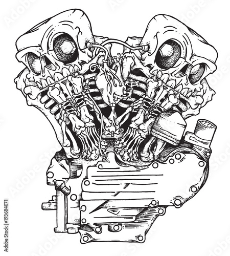 Stylized Knuckle Twin Motorcycle Engine Handcrafted Mascot Of