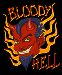 """Bloody Hell"" T-Shirt design, poster art. Red face devil with flames and vintage background."