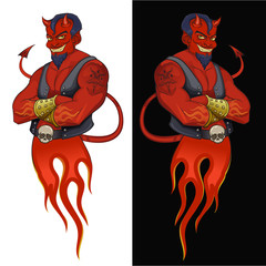 Devil mascot illustration. Stylish red skin devil on black and white background. Good for posters, stickers, t-shirt prints and label design.