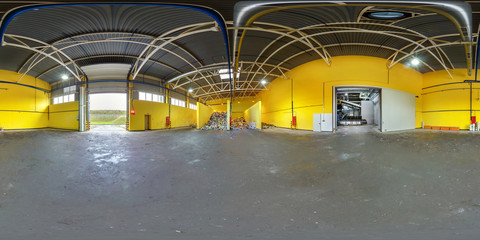 360 panorama in interior stock storage of plastic bales at the waste processing recycling plant. Full 360 angle view seamless panorama in equirectangular projection.