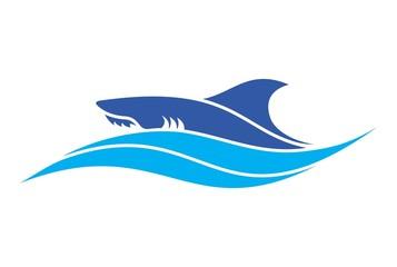 shark blue sea logo vector dsign