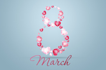 International Women's Day, March 8. The figure 8 is made up of pink diamonds, precious stones. Celebration concept, banner, poster, invitation, background.
