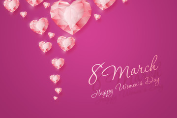 March 8, International Women's Day. Celebration concept, banner, poster, invitation, pink background, diamonds of the heart.