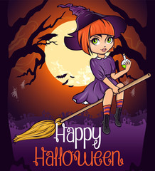Halloween poster card. Cute pinup pink hair little witch on broom with bottle of poison on dark background with fool moon cemetery and ghosts.