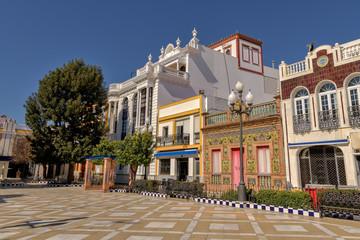 Picturesque Plaza de Las Flores in Isla Cristina, Huelva, Spain.