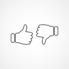 thumbs up and thumbs down line icon