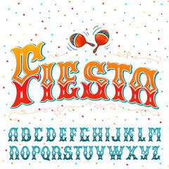 """Fiesta"" typeface set. Hand crafted font for festival or celebration events in traditional Mexican style."