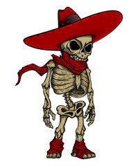 Skeleton in Mexican hat mascot. Cute skeleton in sombrero and scarf. Good for posters, labels, stickers, emblems, t-shirts.