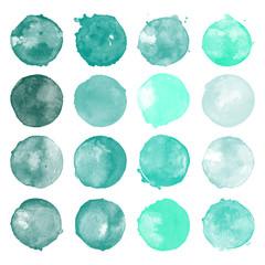 Set of watercolor shapes. Watercolors blobs. Set of colorful watercolor hand painted circle isolated on white. Illustration for artistic design. Round stains, blobs of teal, mint colors