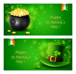St.Patricks Day Card with Treasure of Leprechaun, Pot Full of Golden Coins and hat, Vector illustration.