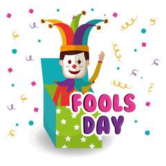 joker in the box prank waving hand fools day vector illustration