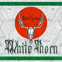 """""""White Thorn"""" Gothic typeface. Stylish Gothic font set with deer skull and sacred geometry ornament on black grunge background. Good fore alcohol labels, posters, stickers."""
