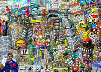 Graffiti, City, an illustration of a large collage, with houses, cars and people