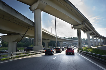 Urban Elevated Roads with cars under the blue sky