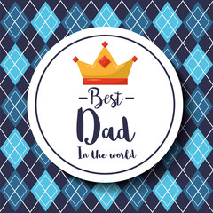 badge best dad in the world crown argyle pattern background vector illustration