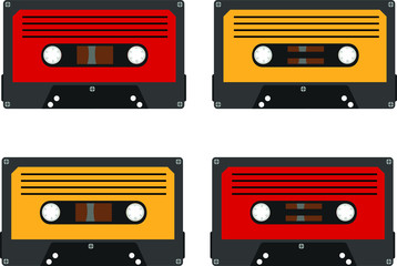 vintage audio cassettes with magnetic film