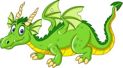 Cartoon dragon isolated on white bacground