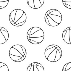Basketball ball icon seamless pattern on white background. Sport symbol. Flat design. Vector Illustration