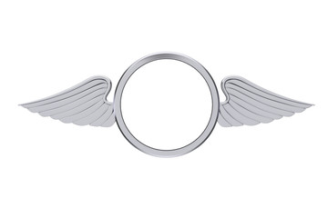 Silver Badge with Wings and Free Space for Your Design. 3d Rendering