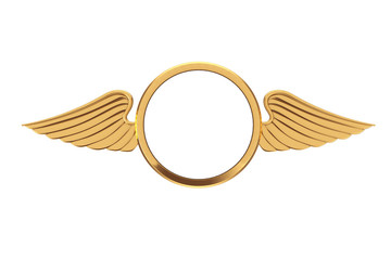 Golden Badge with Wings and Free Space for Your Design. 3d Rendering