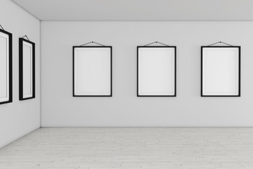 Art Gallery Museum with White Blank Placard Mockup Frames. 3d Rendering