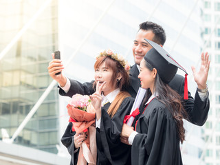 Businessman and twin woman portrait smiling and selfie photo on her graduation day