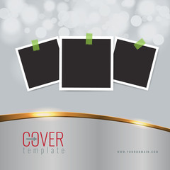 Vector Elegant business cover design background with golden line effect and photo frames and borders. Blur bokeh.
