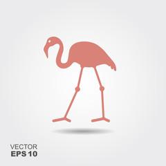 Flat design flamingo Icon.