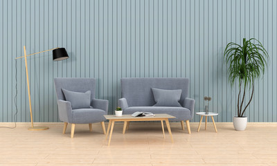 grey sofa and lamp on wooden floor in living room, 3D rendering