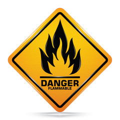 Flammable material hazard sign isolated on white background,  Attracting attention,Compulsory, Control ,practice, Security first sign, Idea for graphic,web design,EPS10