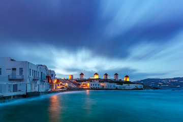Fototapete - Famous view, Traditional windmills on the island Mykonos, The island of the winds, at sunrise, Greece