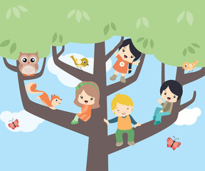 Cute Children Sitting on Trees Spring Vector Flat Illustration