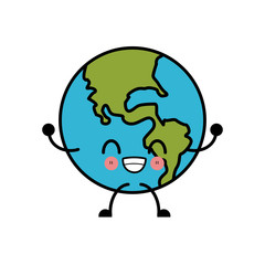 Earth globe isolated cute kawaii cartoon icon vector illustration