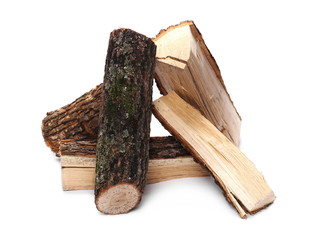 oak stump, log fire wood isolated on white background with clipping path