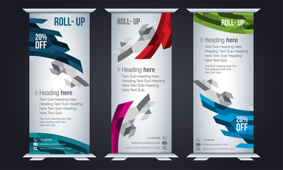 Roll up design, vertical template for corporate business, easy to convert into brochure, flyer, banner, presentation, x-banner and flag-banner, modern layout.