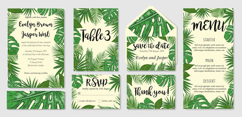 Template cards set with watercolor palm leaves; wedding design for invitation, Rsvp, menu, table number thank you, save the date guest card & label set