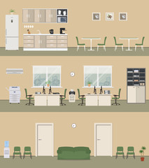 Office premises in a beige color. Office room with white furniture and green chairs, corridor, office kitchen. There is a copy machine, a printer, a conditioner and other objects in the picture.Vector