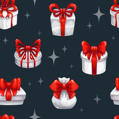 Seamless pattern with white gift boxes
