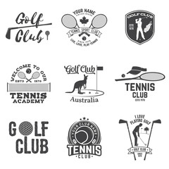 Set of Golf club, Tennis club concept. Vector illustration.
