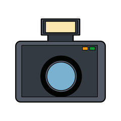 camera photo equipment flash lens icon vector illustration