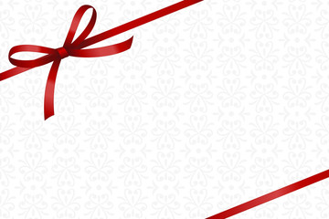 Invitation, Greeting or Gift Card With Red Ribbon And A Bow  on Decorative Elements  background.  Gift Voucher Template with  place for text.