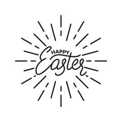 Easter. Label badge emblem of Happy Easter linear lettering