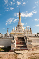 White-washed buddhist pagoda, Inwa, Burma