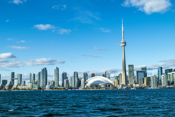 Toronto skyline in a summer day, with an amazing cn tower view